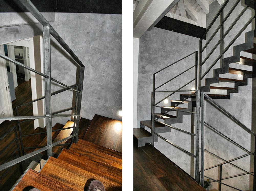 Foto scala in legno massello con struttura in ferro di Artigiana Arredamenti a Lazise